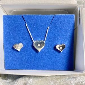 Vintage Avon sterling silver diamond accent heart